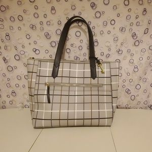 Fossil Fiona Totebag Grey Grid Print